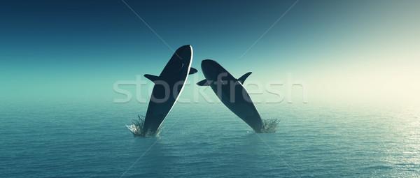 3D прыжки морем 3d визуализации два воды Сток-фото © kjpargeter