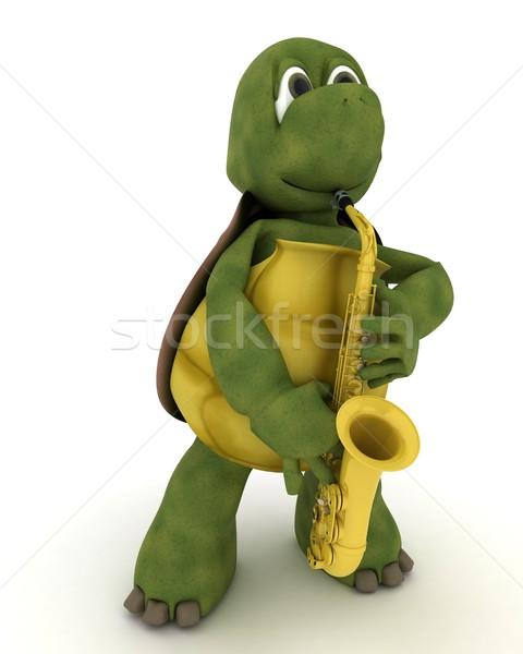 亀 演奏 サクソフォン 3dのレンダリング 海 ジャズ ストックフォト © kjpargeter