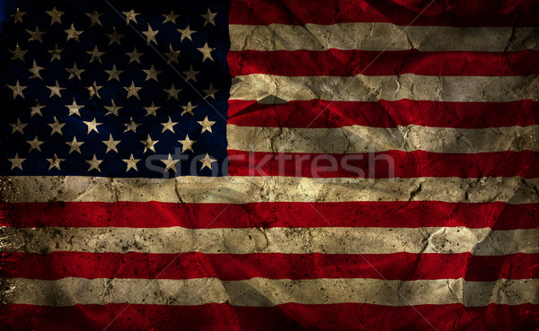 Grunge American flag background Stock photo © kjpargeter