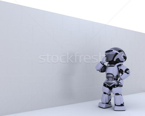 Robot business metafora rendering 3d futuro Foto d'archivio © kjpargeter