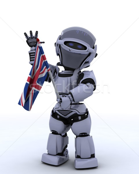 Robot with Union Jack Flag Stock photo © kjpargeter