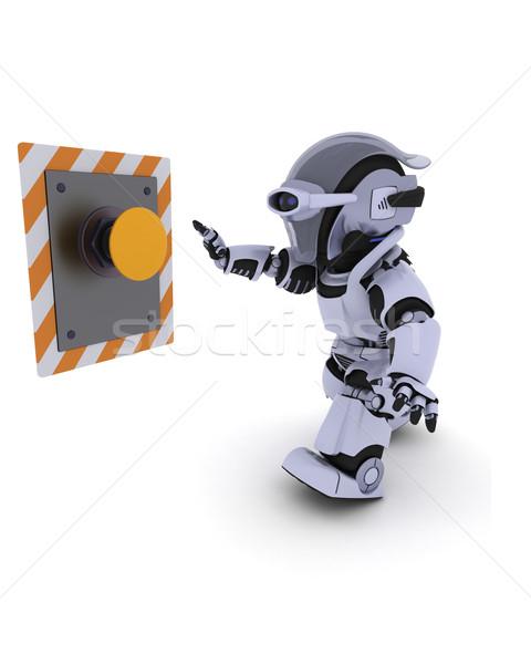 ロボット プッシング ボタン 3dのレンダリング 将来 現代 ストックフォト © kjpargeter