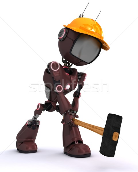 android builder with a sledgehammer Stock photo © kjpargeter