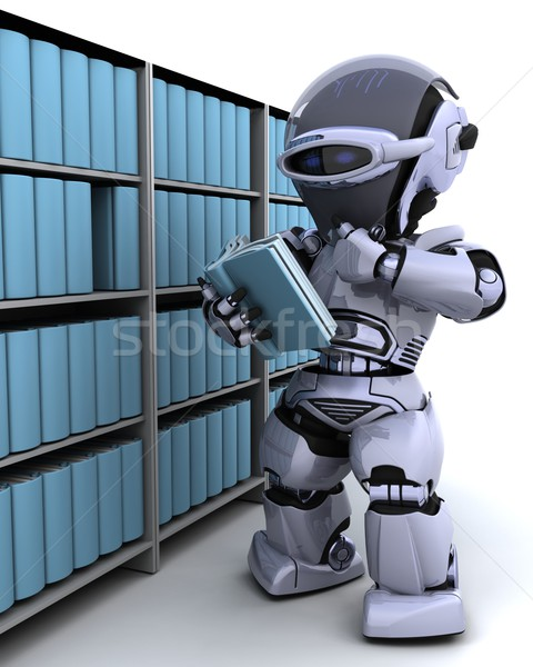 robot at bookshelf Stock photo © kjpargeter