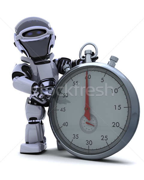 Robot with a Traditional chrome stop watch Stock photo © kjpargeter