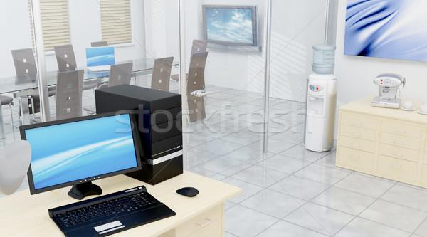 Conferentiezaal 3d render interieur technologie conferentie stoel Stockfoto © kjpargeter