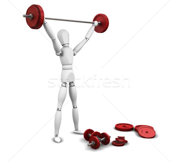 тяжелая атлетика 3d визуализации человека весов лифт Сток-фото © kjpargeter