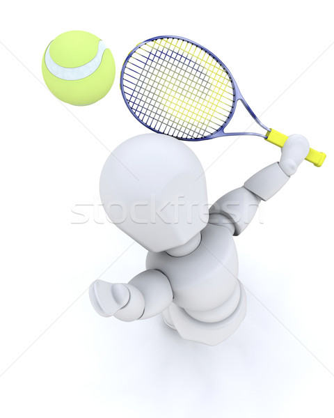 3D tenis player serving  Stock photo © kjpargeter
