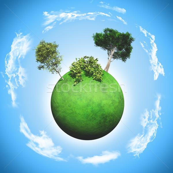 3D herbeux monde arbres rendu 3d Photo stock © kjpargeter
