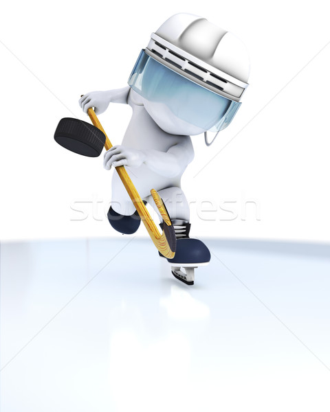 3D Morph Man playing ice hockey Stock photo © kjpargeter