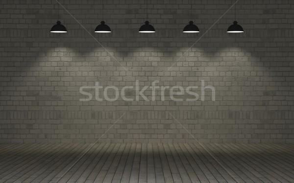 Stock fotó: Védtelen · téglafal · 3d · render · fal · raktár