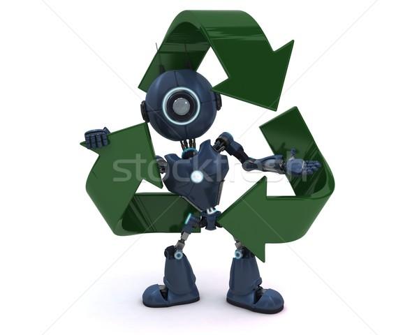 Androide reciclaje símbolo 3d Foto stock © kjpargeter
