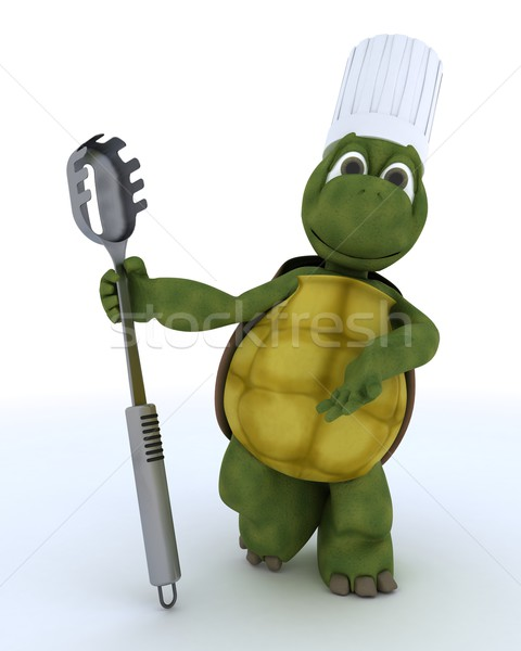 tortoise chef with pasta spoon Stock photo © kjpargeter