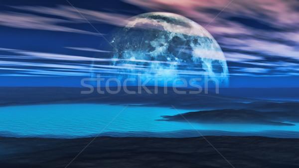 Weird planeet 3d render digitaal scène wolken Stockfoto © kjpargeter