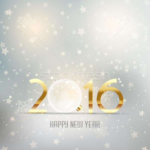 Stock foto: Glückliches · neues · Jahr · Glas · Spielerei · Schnee · Hintergrund · Weihnachten