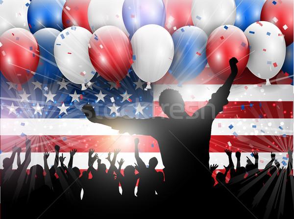 Nap negyedike buli ünneplés léggömbök konfetti Stock fotó © kjpargeter