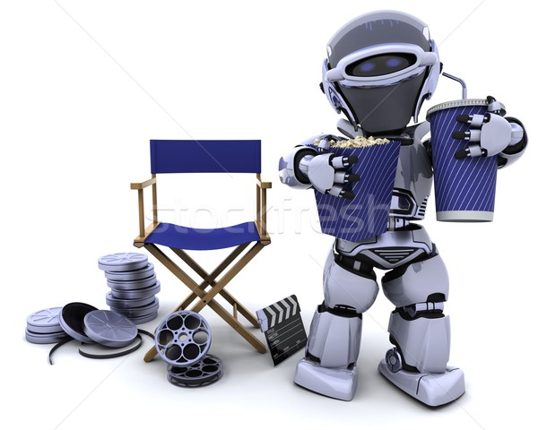 robot with popcorn and soda with directors chair Stock photo © kjpargeter