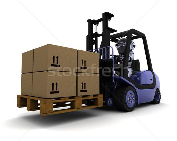 Robô condução elevador caminhão 3d render fábrica Foto stock © kjpargeter