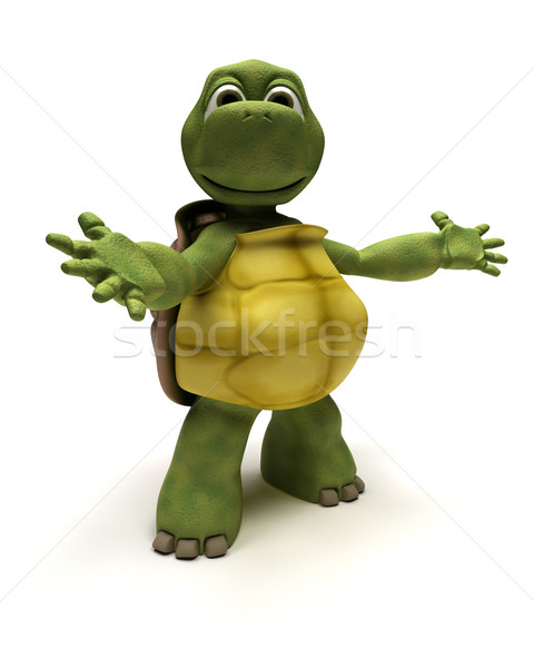 Schildpad introductie pose 3d render business water Stockfoto © kjpargeter