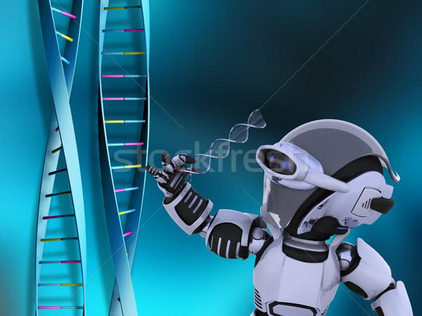 Robot with DNA strands Stock photo © kjpargeter