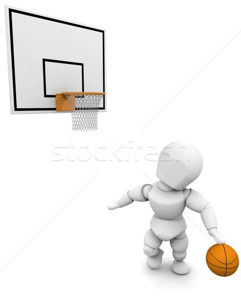 Stock fotó: 3d · ember · játszik · kosárlabda · izolált · fehér · férfi