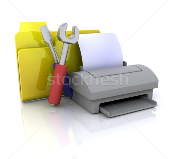 Impressora ícone 3D ícone do computador negócio Foto stock © kjpargeter