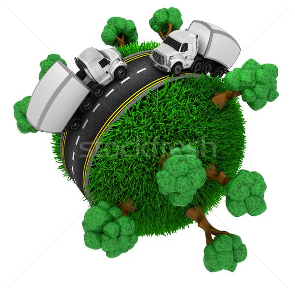 út körül füves földgömb 3d render fű Stock fotó © kjpargeter