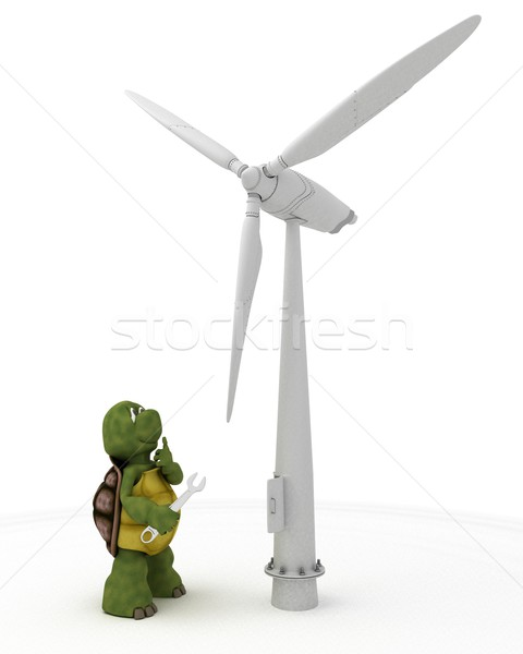 tortoise with wind turbine Stock photo © kjpargeter