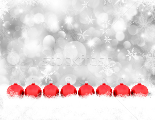 Christmas baubles in snow Stock photo © kjpargeter