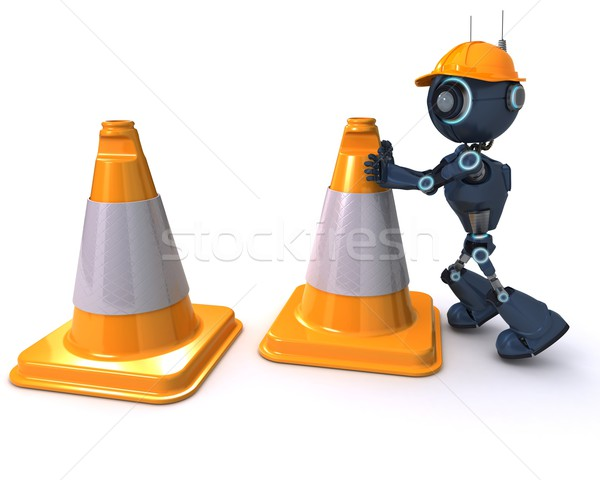Android with caution cones Stock photo © kjpargeter