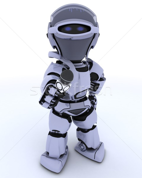 Robot with a reporters microphone Stock photo © kjpargeter