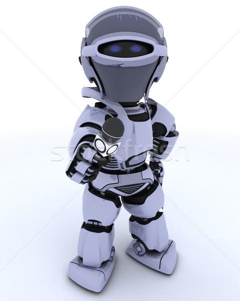 Robot mikrofon 3d przyszłości nowoczesne wywiad Zdjęcia stock © kjpargeter