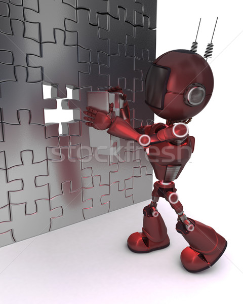 Android with jigsaw puzzle Stock photo © kjpargeter