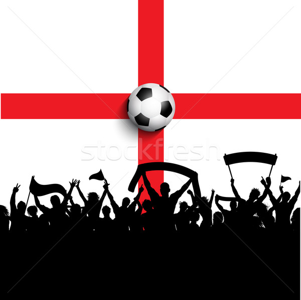 Football Angleterre pavillon silhouette football foule Photo stock © kjpargeter