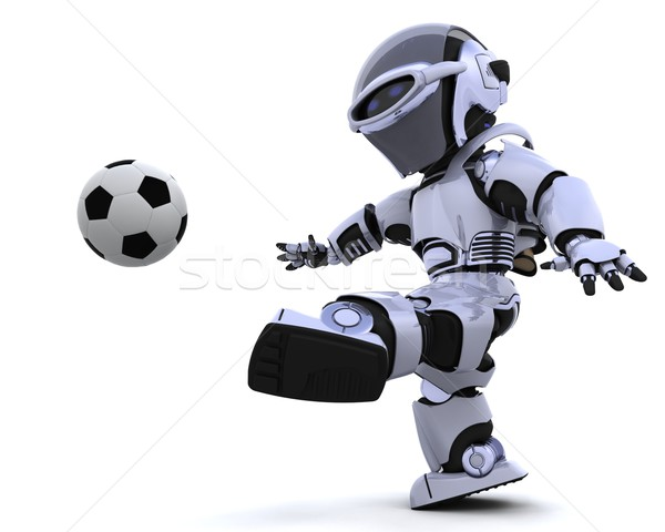 Stock photo: robot  playing soccer