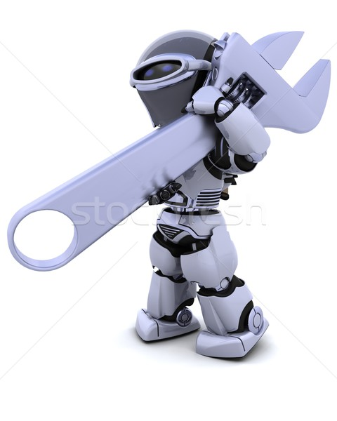 robot with wrench Stock photo © kjpargeter