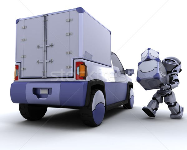 Robot loading boxes into the back of a truck Stock photo © kjpargeter