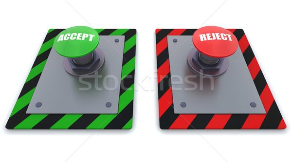 ストックフォト: ボタン · 3dのレンダリング · シンボル · 赤 · 産業