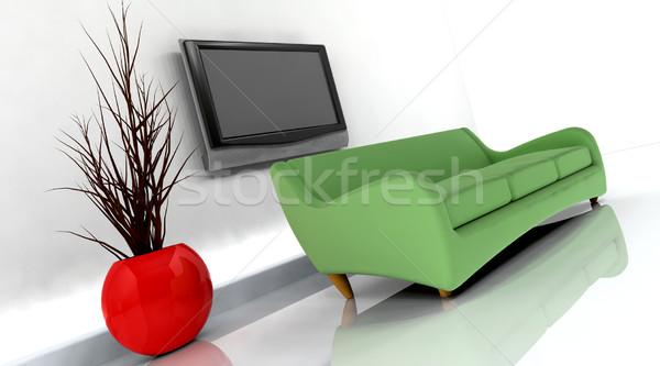 3d render kanapé tv televízió fal terv Stock fotó © kjpargeter