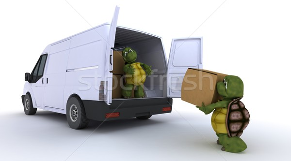 tortoises loading a van Stock photo © kjpargeter