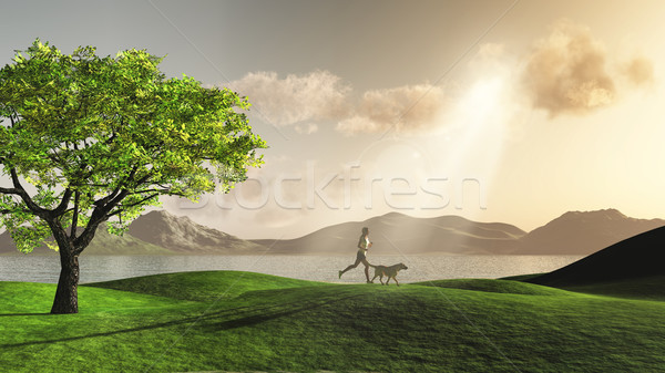 3D female jogging with her dog Stock photo © kjpargeter