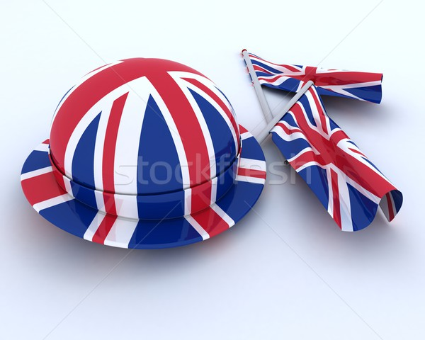 Brit zászló kalap zászló 3d render ünnep ünneplés Stock fotó © kjpargeter