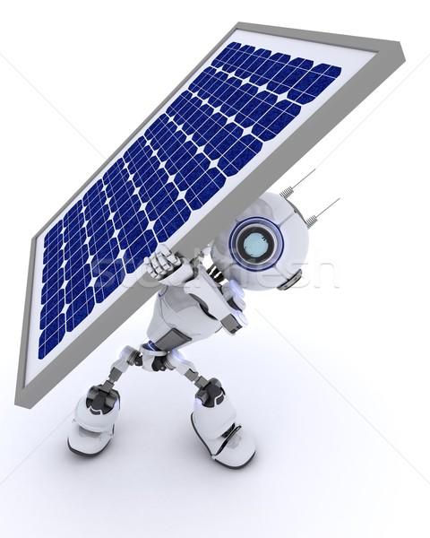 Robot zonnepaneel 3d render man energie toekomst Stockfoto © kjpargeter