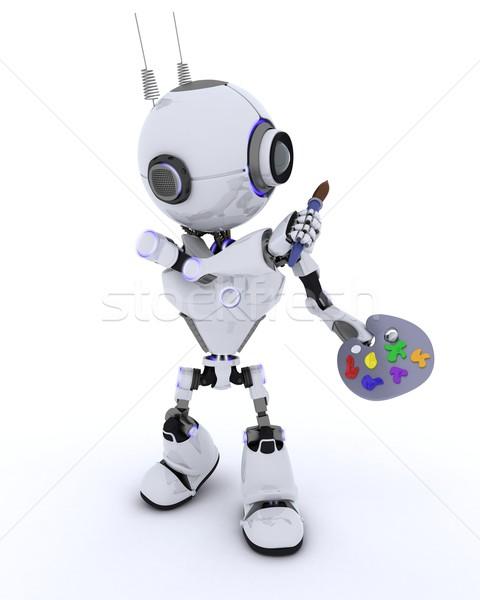 Roboter Pinsel Palette 3d render Mann Zukunft Stock foto © kjpargeter