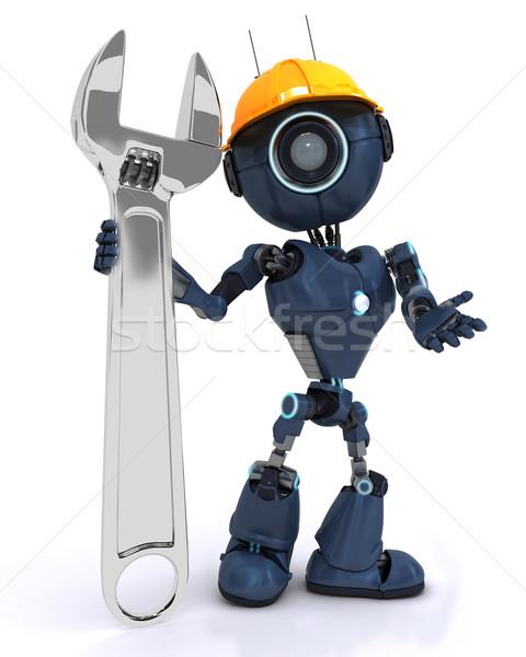 Android oluşturucu İngiliz anahtarı vermek adam inşaat Stok fotoğraf © kjpargeter