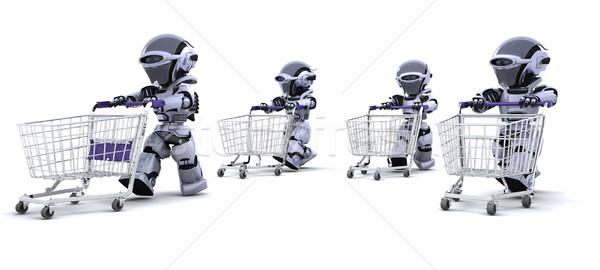 Foto stock: Corrida · compras · 3d · render · futuro · armazenar