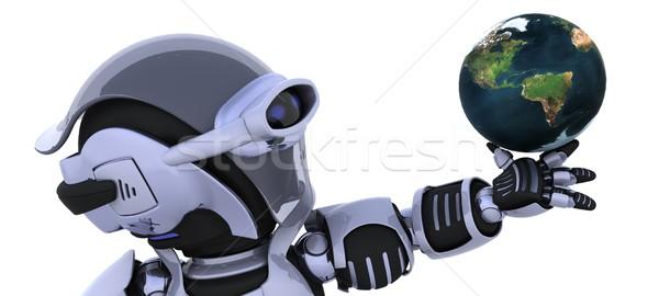 Foto stock: Robô · globo · 3d · render · terra · futuro · apresentar