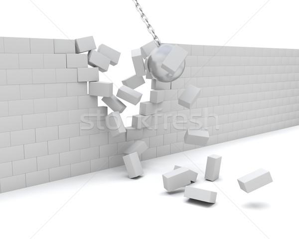 Wrecking ball demolishing a wall Stock photo © kjpargeter
