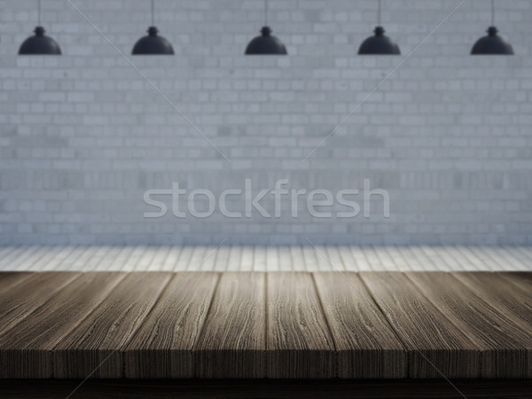 Wooden table with defocussed empty room image Stock photo © kjpargeter