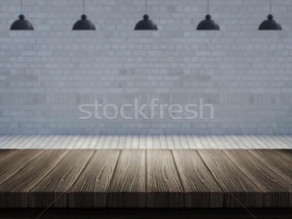 Mesa de madera habitación vacía imagen 3d madera paisaje Foto stock © kjpargeter